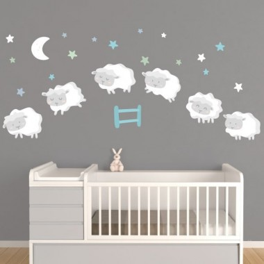 Ovejitas bebé - Combinación mint - Vinilos infantiles