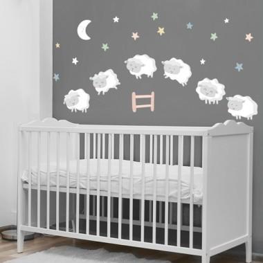 Moutons - Étoiles colorées - Sticker muraux chambre bébé