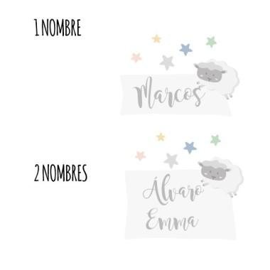 Moutons - Sticker nom de porte Stickers porte chambre Taillede la feuille/montage: 1 prénom: 30,5 x 21 cm 2 prénoms: 30,5 x 27 cm   vinilos infantiles y bebé Starstick