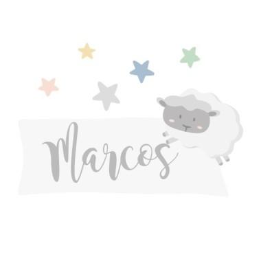 Moutons - Sticker nom de porte