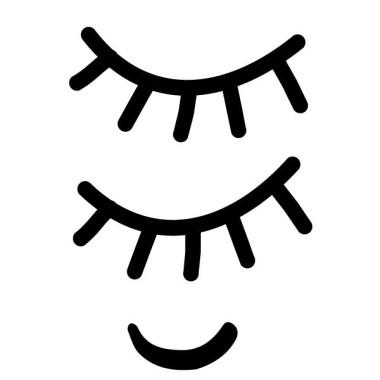 Les Yeux endormis - Sticker muraux Stickers enfants Mesures approximatives du vinyle monté (largeur x hauteur) Base: 30X15 cmPetit: 50X25 cmMoyen: 70x33 cmGrand: 100x50 cm  vinilos infantiles y bebé Starstick