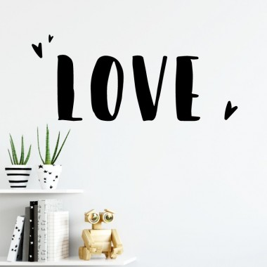 LOVE - Stickers décoratifs phrases et citations Stickers phrase Dimensions approximatives (largeur x hauteur) Basique: 34,5X10 cm Petit: 50X15 cm Moyen: 77x24 cm Grand: 100x30 cm vinilos infantiles y bebé Starstick