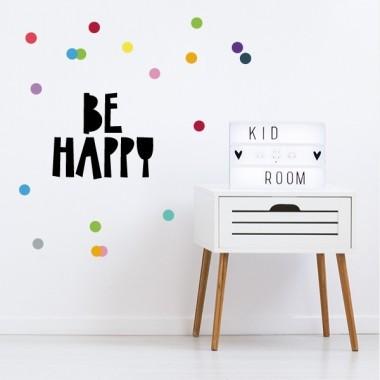 """Be happy - Vinils decoratius de paret Frases infantiles Vinil infantil """"Be happy"""" + confeti de colors. Productes originals per decorar habitacions infantils i cambres de joc. Cada lletra i cada topo són independents, els pots enganxar amb la composició que més t'agradi. Mesures aproximades del vinil muntat (ample x alt)Bàsic: 60x45 cmPetit: 85x50 cmMitjà: 100x60 cmGran: 125x80 cm vinilos infantiles y bebé Starstick"""
