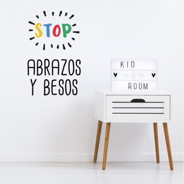 Stop. Abrazos y besos - Stickers décoratifs phrases et citations