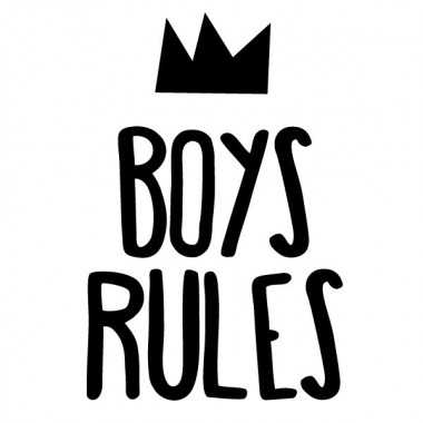 Boys Rules - Vinils decoratius cites i frases cèlebres Vinils Nen Vinils decoratius plens d'humor, creativitat i disseny. Adhesius de gran qualitat amb els que podràs decorar habitacions de nens i adolescents de manera original i divertida. Mesures aproximades del vinil muntat (ample x alt) Bàsic: 25X17 cmPetit: 38X25 cmMoyen: 60X38 cm   vinilos infantiles y bebé Starstick