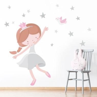 Princesa infantil. Gris - Vinilos infantiles