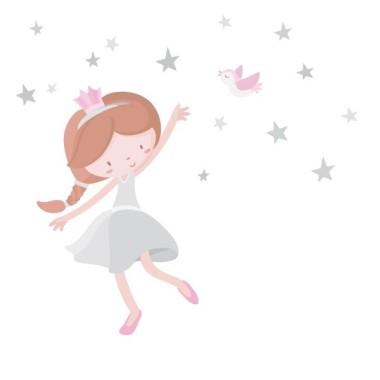 Niña princesa - Vinilo infantil Vinilos infantiles Bebé Maravillosa princesa con un pajarito. Fantástico vinilo para decorar las paredes de las habitaciones infantiles y crear un espacio lleno de ilusión. El pack incluye 1 princesa, estrellas y 1 pájaro. Medidas aproximadas del vinilo montado (ancho x alto) Básico:70x50cm Pequeño:110x70 cm  Mediano:160x95cm  Grande:190x150 cm Gigante:240x170 cm AÑADE UN NOMBRE AL VINILO DESDE 9,99€  vinilos infantiles y bebé Starstick