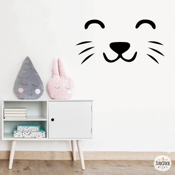 Visage de chat - Sticker muraux Accueil Les Tailles Basique: 30x15 cmPetit: 50X24,7 cmMoyen: 60x30 cm  vinilos infantiles y bebé Starstick