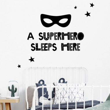 A Superhero sleeps here - Vinils infantils de paret