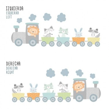 Train avec animaux Bleu - Sticker muraux chambre bébé Stickers enfants Dimensions approximatives (largeur x hauteur) Basique: 70x45 cm Petit:100x70 cm Moyen:125x81 cm Grand:170x111 cm Geant:220x150 cm  AJOUTER UN PRÉNOM À PARTIR DE 9,95 € vinilos infantiles y bebé Starstick