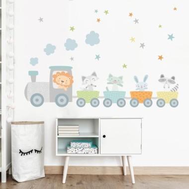 Vinilo bebé - Tren con animales y confeti azul