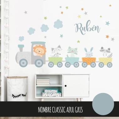 Vinilos infantiles bebé - Tren con animales y confeti azul