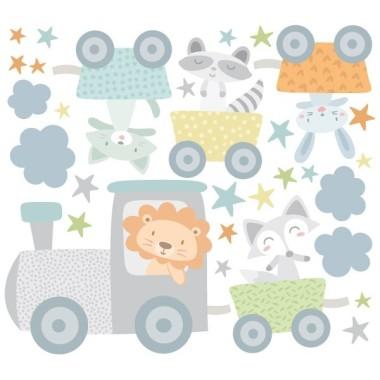 Vinilos infantiles bebé - Tren con animales azul Vinilos Infantiles Divertido vinilo infantil para bebé con un tren de colores lleno de alegres animales. Vinilos infantiles decorativos para habitaciones de bebés. Diseños exclusivos y súper originales. Medidas aproximadas del vinilo infantil montado (ancho x alto) Básico: 70x45 cm Pequeño:100x70 cm Mediano:125x81 cm Grande:170x111 cm Gigante:220x150 cm  AÑADE UN NOMBRE AL VINILO DESDE 9,99€  vinilos infantiles y bebé Starstick