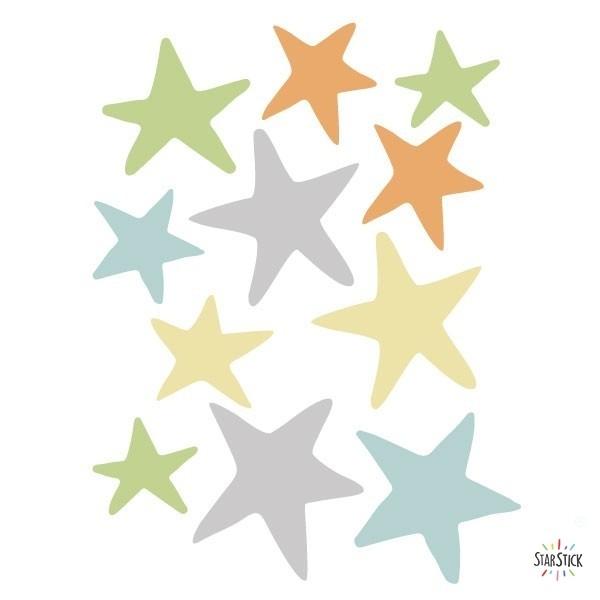 Extra Pack - Estelles tren amb animals blau Extra Packs Extrapack amb 10 estrelles d'entre 5 i 8 cm d'ample. Mida de la làmina: 20x30 cm vinilos infantiles y bebé Starstick