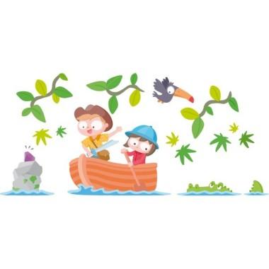 Vinilo niños exploradores - Vinilos infantiles Vinilos infantiles Niño Vinilos infantiles para decorar habitaciones de niños y niñas atrevidos. Divertidísima pegatina mural con una barca, dos exploradores, ramas decorativas, animales y una isla con el tesoro. Medidas aproximadas del vinilo montado (ancho x alto) Básico:70x35 cm Pequeño:105x50 cm  Mediano:120x60 cm  Grande:170x90 cm Gigante:240x135 cm AÑADE UN NOMBRE AL VINILO DESDE 9,99€  vinilos infantiles y bebé Starstick