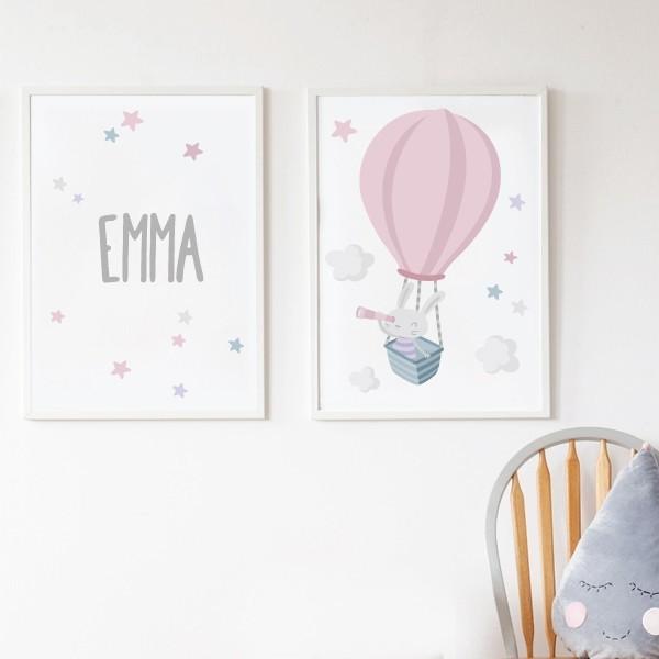 Pack de 2 láminas decorativas - Conejito explorador en globo rosa + Lámina con nombre