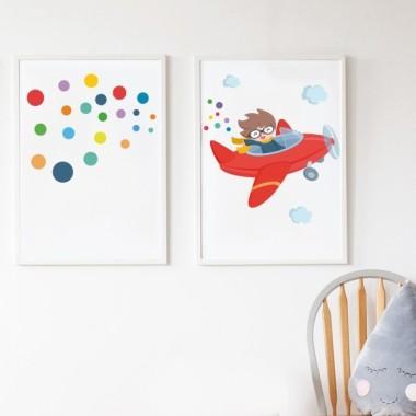 Lot de 2 affiche chambre enfant - Avion rouge avec des confettis + Toile de confettis