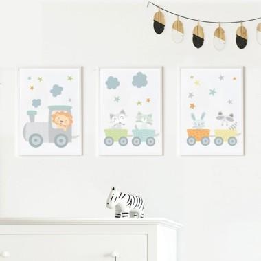 Lot de 3 affiche  pour enfants - Train bleu avec des animaux