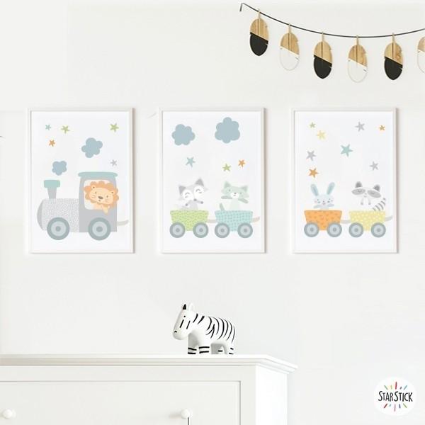 Lot de 3 affiche  pour enfants - Train bleu avec des animaux Packs de láminas Dimensions (largeur x hauteur) A4 - 210 x 297 mm A3 - 297 x 420 mm A2 - 420 x 594 mm  Matériel: Impression sur toile Cadre: Optionnel   vinilos infantiles y bebé Starstick