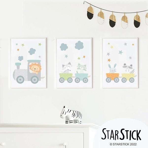 Pack de 3 láminas infantiles - Tren azul con animales