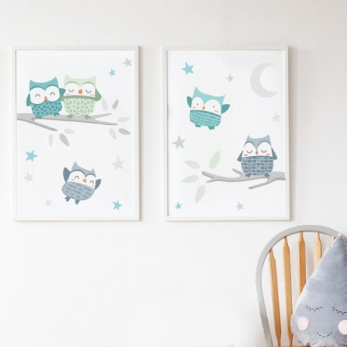 Pack de 2 láminas decorativas - Búhos mint