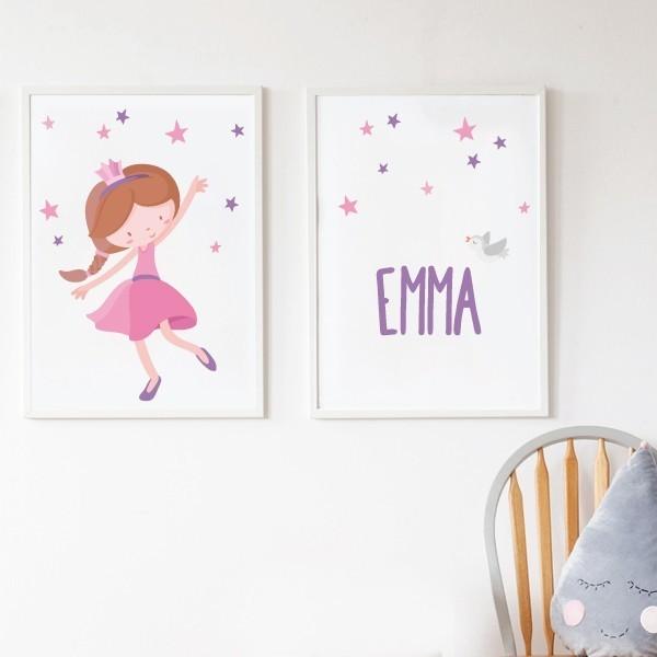 Pack de 2 làmines decoratives - Princesa infantil rosa + Làmina amb nom