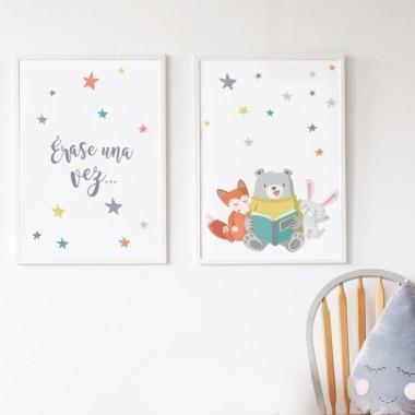 Pack de 2 láminas decorativas - Animales leyendo + Érase una vez...