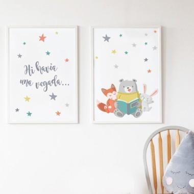 Pack de 2 làmines decoratives - Animals llegint + Hi havia una vegada ...