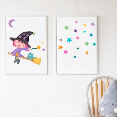 Pack de 2 láminas decorativas - Bruja voladora de colores + Lámina con estrellas