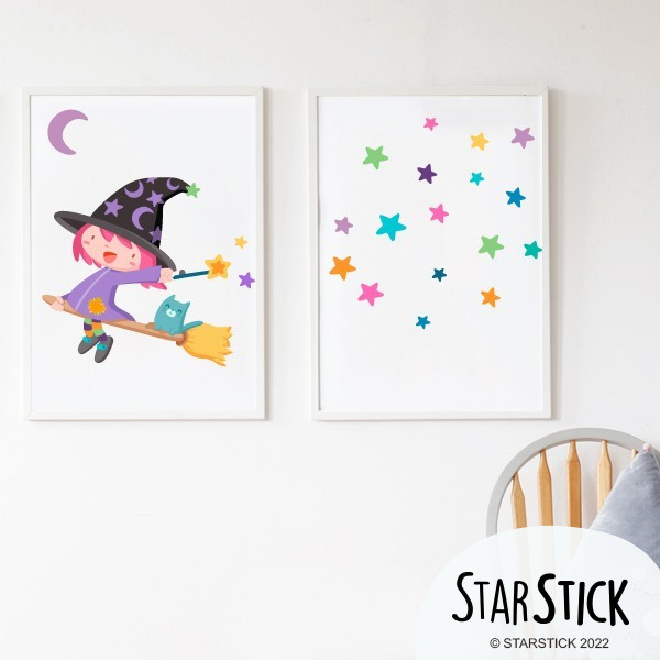 Lot de 2 affiche chambre enfant - Sorcière volante de couleurs + Toile avec étoiles