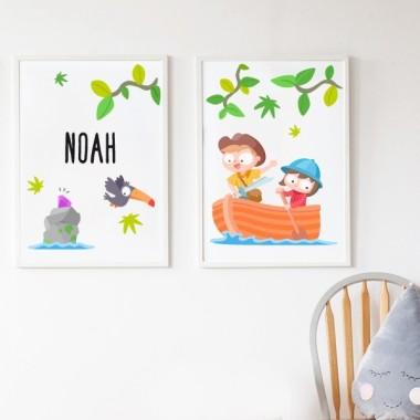 Lot de 2 affiche chambre enfant - Enfants explorateurs + Toile avec nom