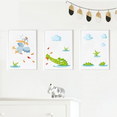 Lot de 3 affiche  pour enfants - Crocodile affamé