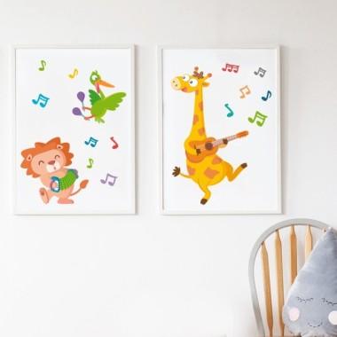 Lot de 2 affiche chambre enfant - Animaux musiciens