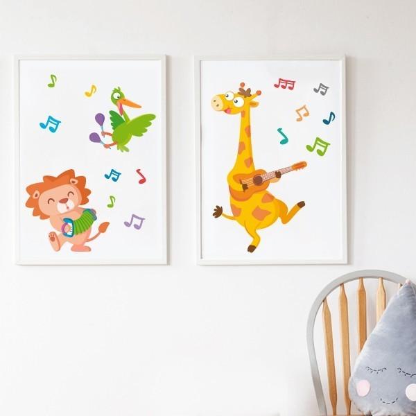Lot de 2 affiche chambre enfant - Animaux musiciens Affiches et cadres enfant Dimensions (largeur x hauteur) A4 - 210 x 297 mm A3 - 297 x 420 mm A2 - 420 x 594 mm   Matériel: Impression sur toile Cadre: Optionnel   vinilos infantiles y bebé Starstick