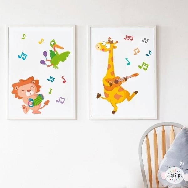 Pack de 2 láminas decorativas - Unos músicos muy animales