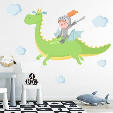 The Magic Dragon et chevalier - Sticker muraux chambre bébé. Vert