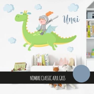 The Magic Dragon et chevalier - Sticker muraux chambre bébé. Vert