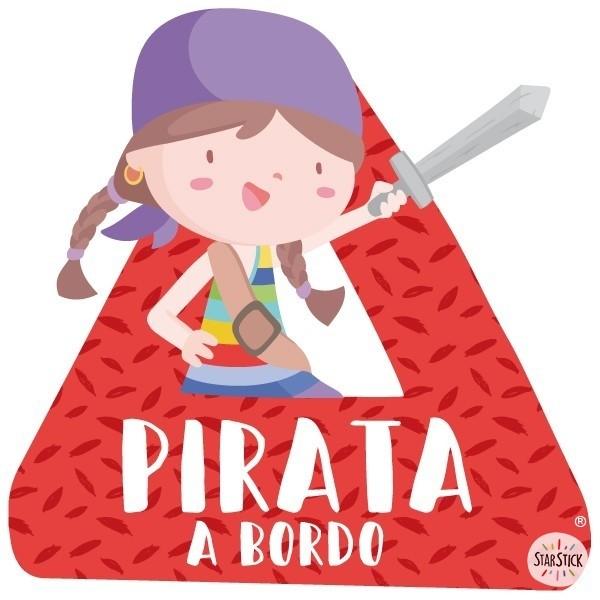 """Super pirate fille à bord - Adhésif pour voiture Stickers bébé à bord Adhésif pour voiture """"Super pirate fille à bord"""" Dimensions: 16x15 cm Matériau:Sticker autocollantpelliculage vinilos infantiles y bebé Starstick"""