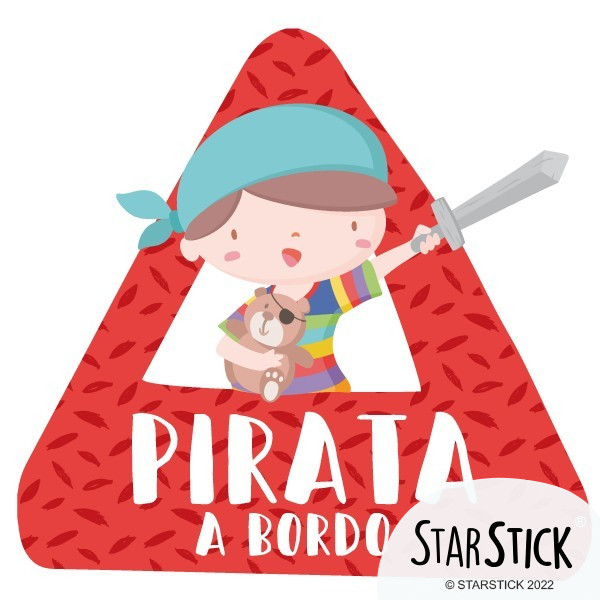 """Súper niño pirata a bordo – bebé a bordo triángulo para coche Pegatinas Bebé a bordo """"Súper niño pirata a bordo"""". Triángulosbebé a bordo informativos de diseño, para pegar en la parte posterior de los vehículos. Pegatinas de gran calidad y fáciles de colocar. Tamaño del triangulo: 16x15 cm Material: Vinilo mate laminado vinilos infantiles y bebé Starstick"""