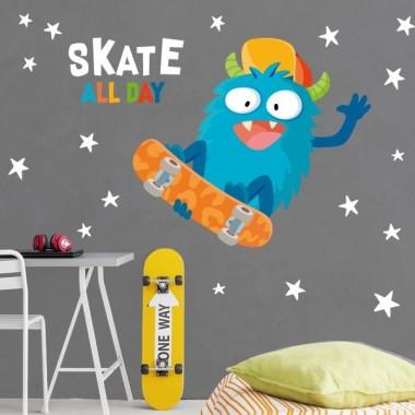 Monstruo skater - Vinilos para niño
