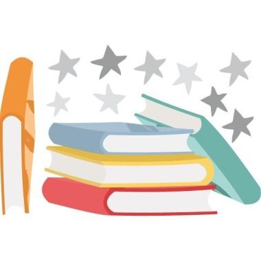 """Libros y estrellas - Vinilos infantiles de pared Vinilos Colegios Vinilo decorativo con libros y estrellas. Se puede pegar solo o complementar el vinilo """"Caperucita y el lobo leyendo un cuento"""" Básico: 4 libros:16X9cm y libro 11X2cm + estrellas Pequeño:4 libros:22X12cm y libro 16X3cm + estrellas  Mediano: 4 libros:32X14cm y libro 23X5cm + estrellas  Grande: 4 libros:40X22cm y libro 28X6cm + estrellas Gigante: 4 libros:53X30cm y libro 38X8 m + estrellas vinilos infantiles y bebé Starstick"""