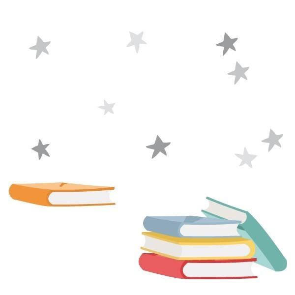 """Llibres i estrelles - Vinils infantils de paret Vinils educatius / escoles Vinil decoratiu amb llibres i estrelles. Es pot enganxar sol o complementar el vinil """"Caputxeta i el llop llegint un conte"""" Bàsic: 4 llibres: 16X9cm i llibre 11X2cm + estrellesPetit: 4 llibres: 22X12cm i llibre 16X3cm + estrellesMitjà: 4 llibres: 32X14cm i llibre 23X5cm + estrellesGran: 4 llibres: 40X22cm i llibre 28X6cm + estrellesGegant: 4 llibres: 53X30cm i llibre 38X8 m + estrelles vinilos infantiles y bebé Starstick"""