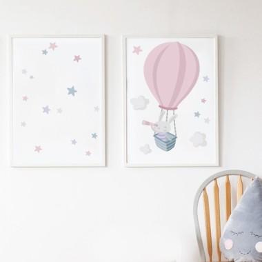 Pack de 2 làmines decoratives - Conillet explorador en globus rosa + Làmina amb nom