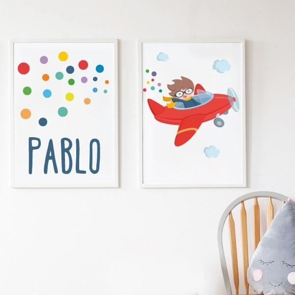 Pack de 2 láminas decorativas - Avión rojo con confeti + Lámina de confeti