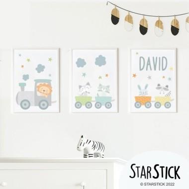 Pack de 3 làmines infantils - Tren bau amb animals