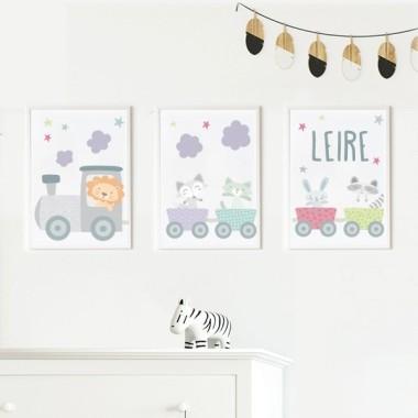 Pack de 3 láminas infantiles - Tren lila con animales