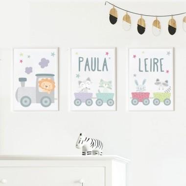 Lot de 3 affiche  pour enfants - Lila train avec des animaux Packs de láminas Dimensions (largeur x hauteur) A4 - 210 x 297 mm A3 - 297 x 420 mm A2 - 420 x 594 mm   Matériel: Impression sur toile Cadre: Optionnel     vinilos infantiles y bebé Starstick