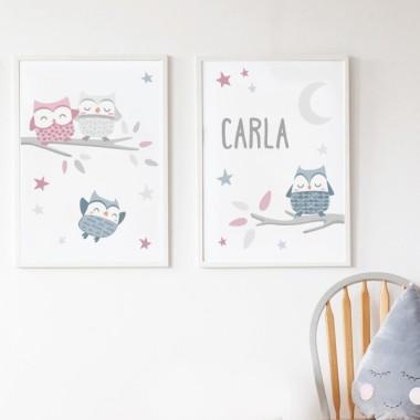 Lot de 2 affiche chambre enfant - Hiboux rose