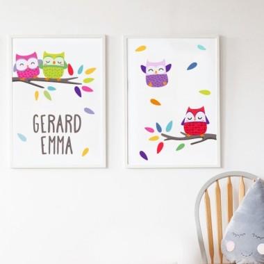 Lot de 2 affiche chambre enfant - Hiboux colorés
