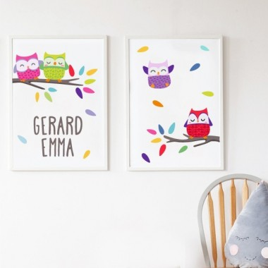 Pack de 2 láminas decorativas - Búhos de colores